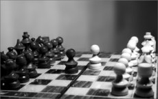 Chess board with opposing pawns facing off