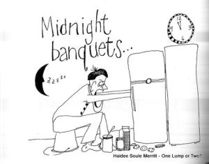 One of the cartoons from the book illustrating a late night low blood sugar feast.