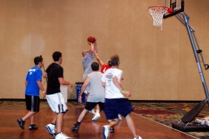 Action shot playing basketball at FFL 2010