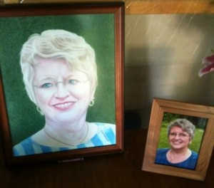 Picture my great-uncle drew of my mom next to her photo