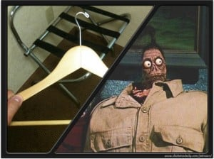 Picture of a hotel hanger and the shrunken head beetlejuice dude
