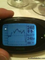 Image of Scott's Dexcom CGM with crazy highs, and a sudden drop