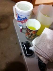 Water, Gatorade, Glucose Meter, CGM, Towels, Chapstick