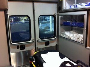 View from inside an ambulance