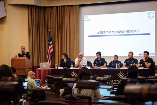 Some of Team Novo Nordisk on a panel ready to share information and answer questions
