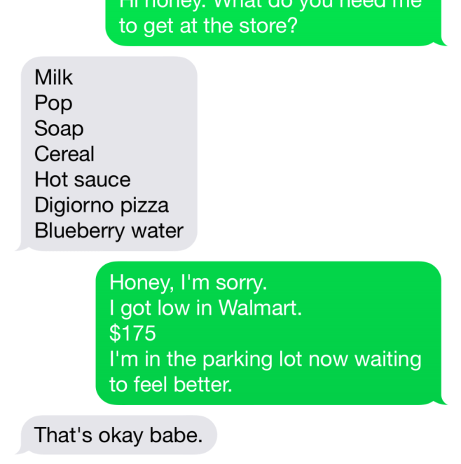 Screenshot of a text message shopping list and my conversation