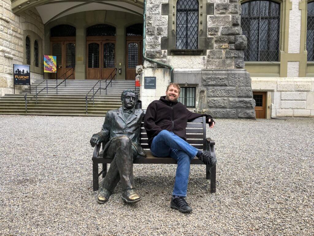 Einstein Statue in Front of Bernisches Historisches Museum - Bern History Museum