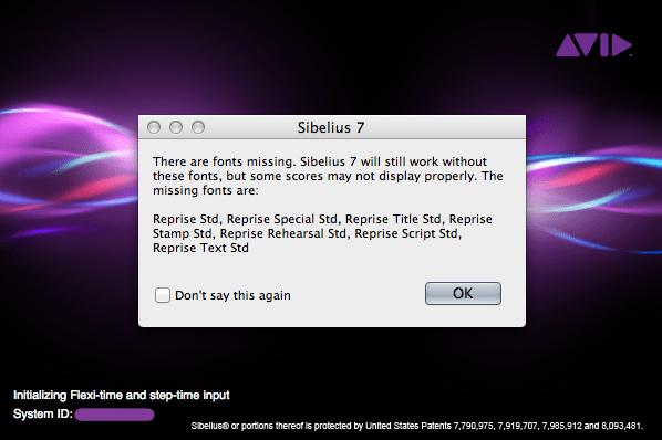 Sibelius 7 error dialog window