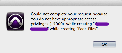 screen shot of a Pro Tools error dialog