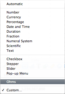 screen grab of Cell Format drop down menu