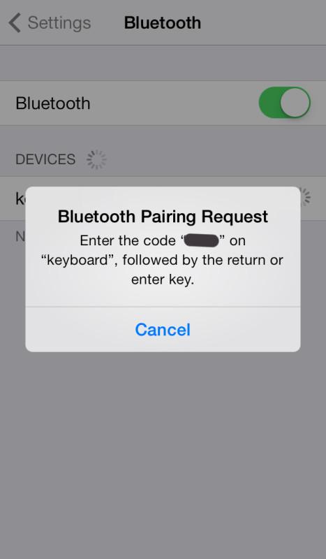Bluetooth Pairing Request alert screengrab