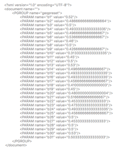 screenshot of XML code