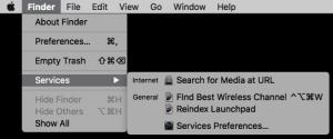 screenshot of Finder Services menu items