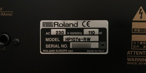 rear product label with model number and serial number