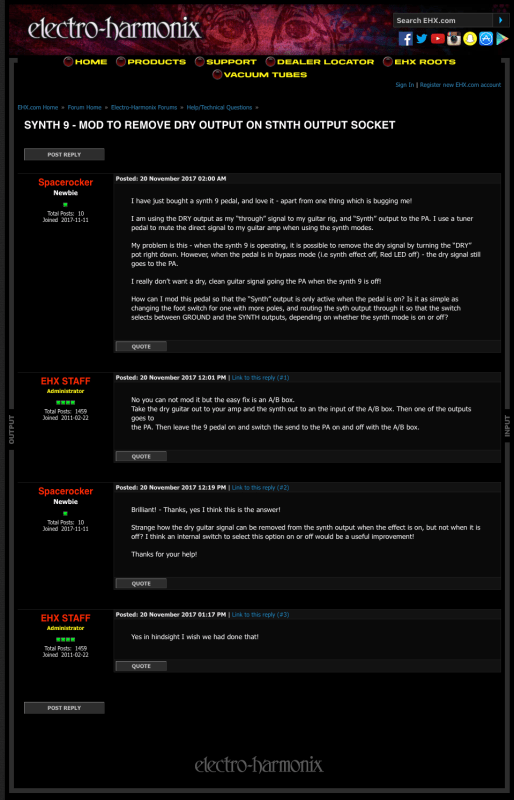 screenshot of an EHX forum post