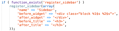 screenshot of functions.php code before