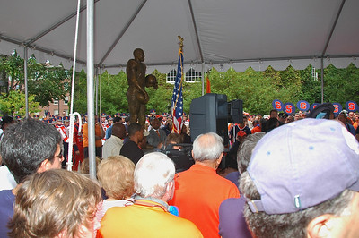 The Ernie Davis statue just seconds after its unveiling.