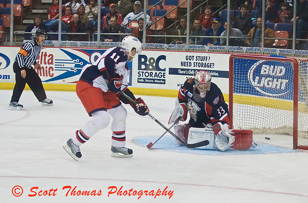 Syracuse Crunch forward Steve Kelly put in the wining Shoot-Out goal past Grand Rapids Griffins goaltender Jimmy Howard.