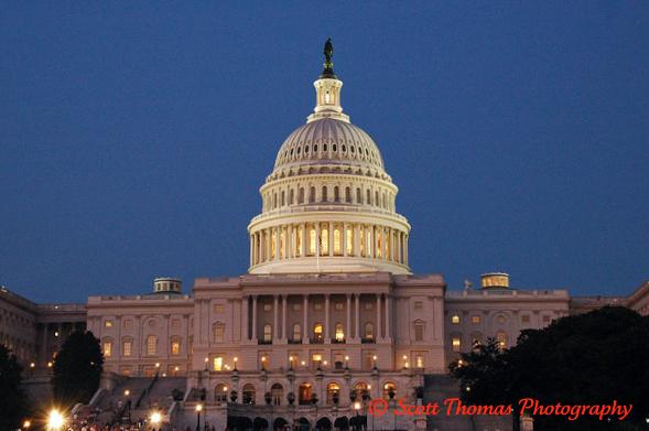 United States Capitol Building at Dusk in Washington, DC.