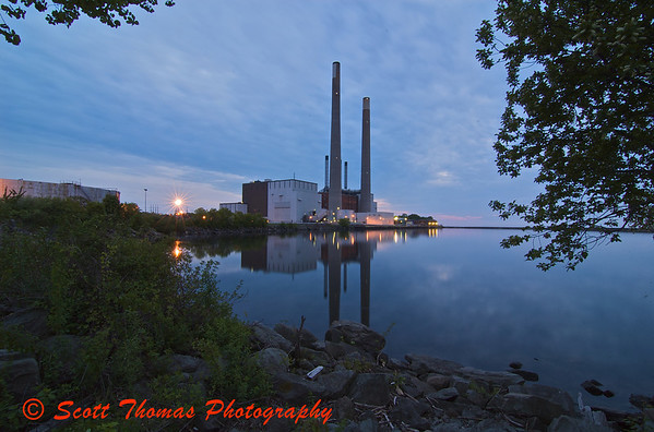 Power plant in Oswego, New York, on Lake Ontario