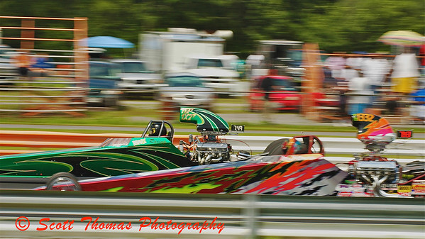 Dragsters racing at ESTA Safety Park Dragstrip on Sunday, July 26, 2009