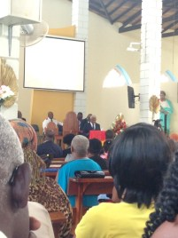 The Prime Minister of Grenada, The Honorable Kieth Mitchell, speaks to the congregation gathered at St. Peter's Church.