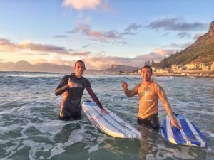 Myself with Don Nguyen at the sunrise surf.