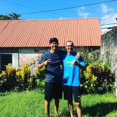 Myself with Kevin Wang in the front yard of my apartment.