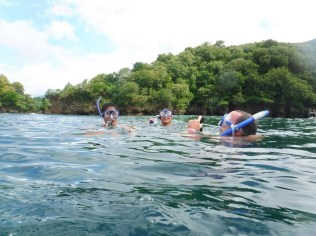 The three of us catching our breath while snorkeling the Sculpture Park.