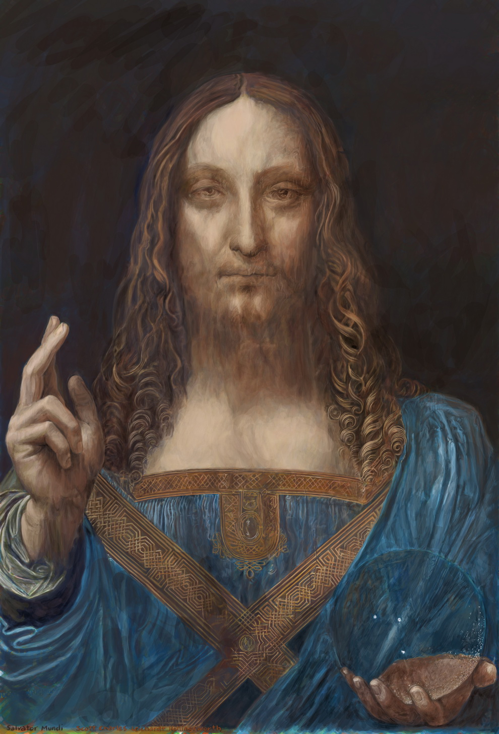 smaller image of the work, Salvator Mundi
