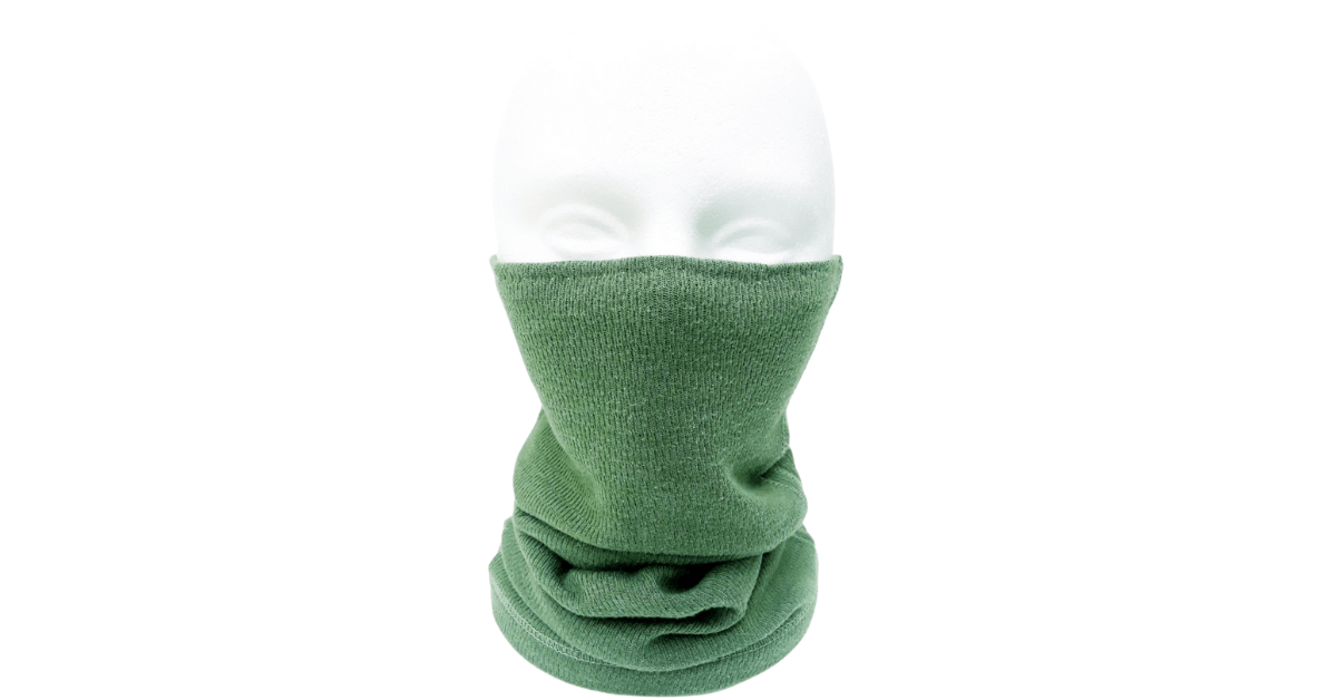 T-Shirt Neck Gaiter on a styrofoam mannequin head