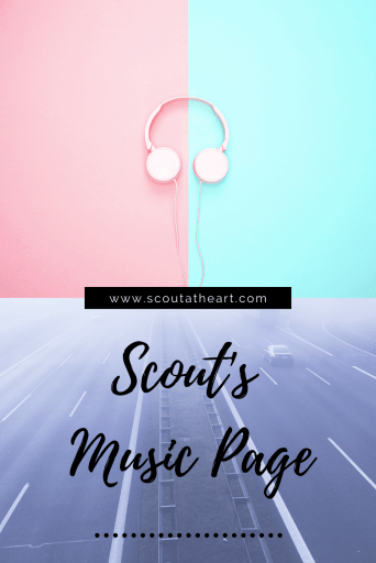 Music headphones with half pink half blue background and gray highway