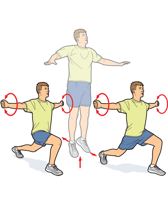 Split Squat With Arm Circles