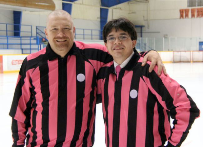 Referees Mark Colbran (left) and Matthew Murray. (Shaun Bisson/The Observer - http://www.theobserver.ca/)