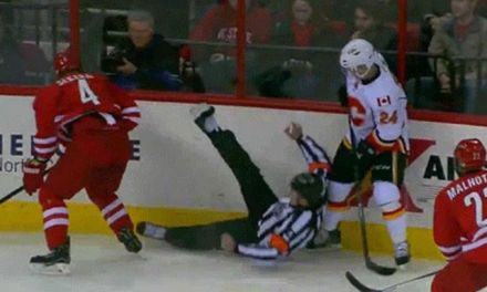 Canes' Sekera Takes Out Ref Wes McCauley