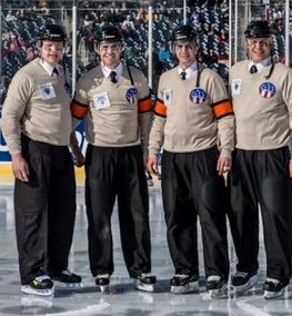 Referee Stephen Reneau at the first USHL Outdoor Game in Feb 2013 (Courtesy Stephen Reneau)