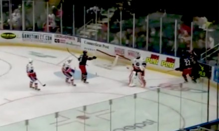 AHL Goalie Dislodges Net to Stop Two-Man Breakway