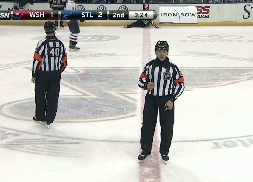 Linesman Brian Mach Loses Edge During Penalty Call