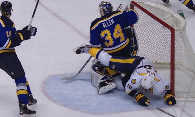 Neal Dislodges Net Leading to Blues GWG