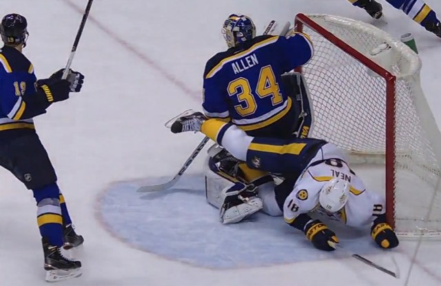 Nashville's James Neal crashes into the St. Louis net at 6:09 of the third period.