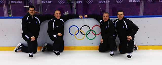 USA officials in Sochi, from left: Chris Woodworth, Tommy George, Andy McElman, and Ian Walsh