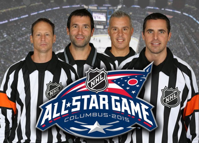 NHL All Star Game Referees and Linesmen: Chris Lee, Steve Miller, Tony Sericolo, and Chris Rooney