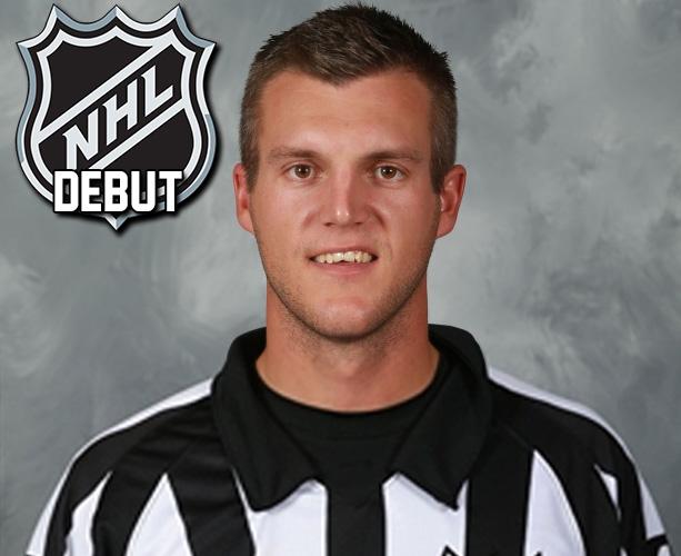 Referee Garrett Rank Works First NHL Game