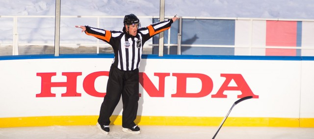 Referee Kelly Sutherland at the 2015 Winter Classic  (Photo by Clyde Caplan/clydeorama.com)