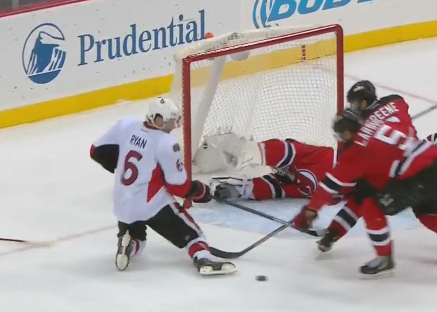 Did Devils' Goalie Cory Schneider Throw His Stick To Save a Goal?