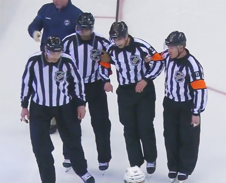 Referee Chris Rooney Injured at Avs/Jackets