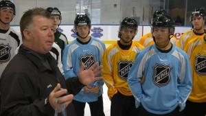 Al Kimmel addresses the officials at the NHL 2015 Amateur Exposure Combine
