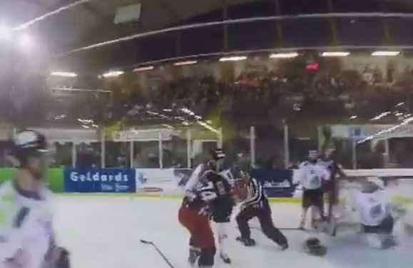 EIHL Fight From a Ref's Point of View