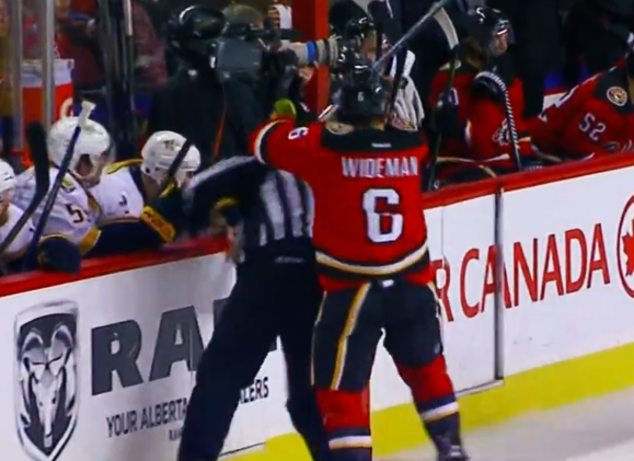 Flames Wideman Suspended 20 Games For Hit on Linesman Henderson