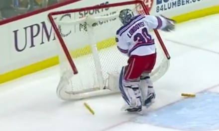 Rangers' Lundqvist Flips Net, Takes Penalty
